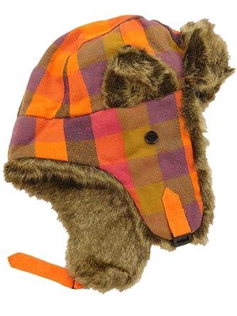 Womens Orange Magenta Navy Olive Purple Plaid   Faux Fur Trapper Hat ... 09416c8cfc9