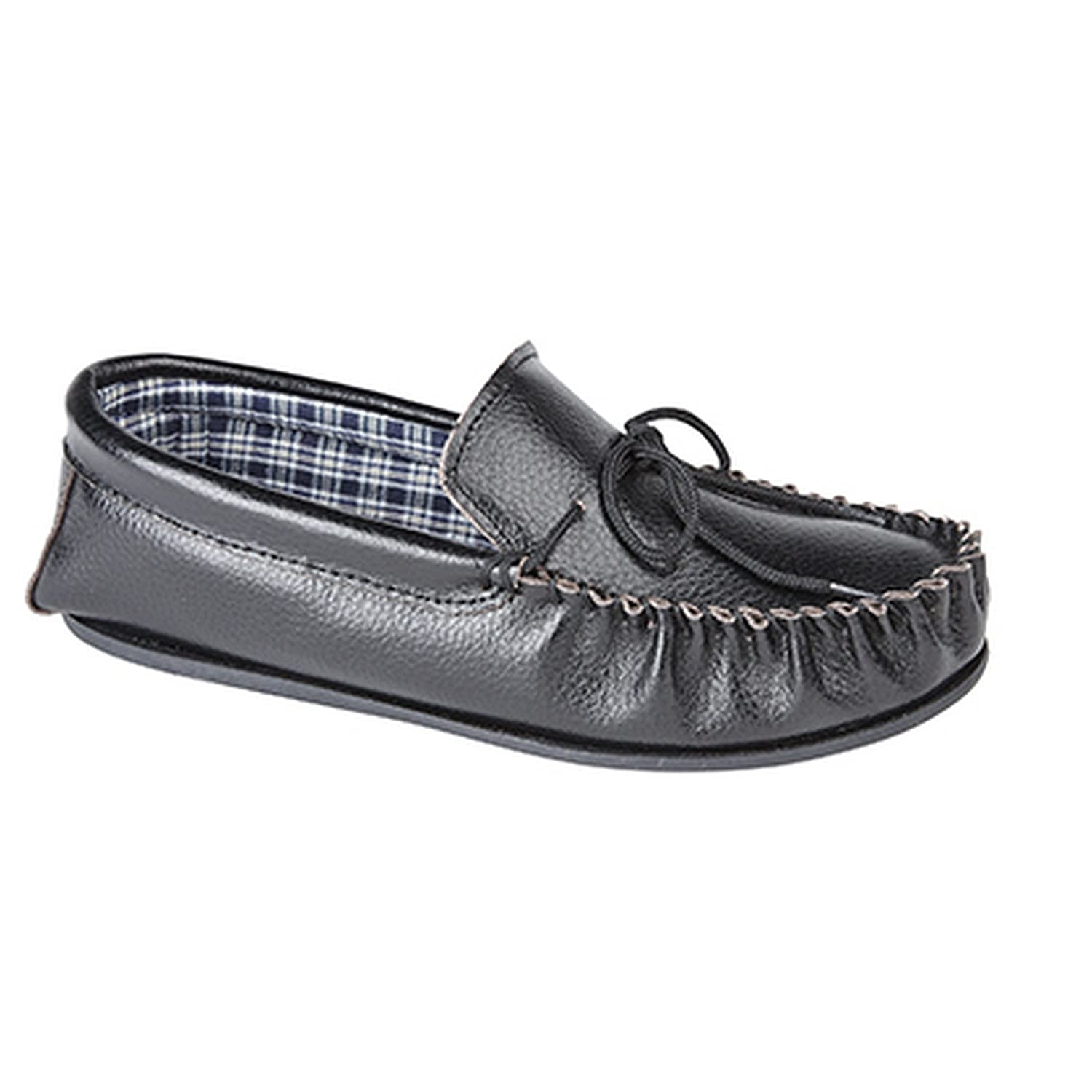 TPR Outdoor Sole MOKKERS OSCAR Men/'s Black Softie Leather Moccasins Slippers