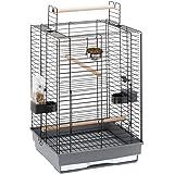 Ferplast - 55023517 - Cage pour oiseaux - Pour perroquets nains - Complètement équipée - 50 x 50 x 75 cm - Noir