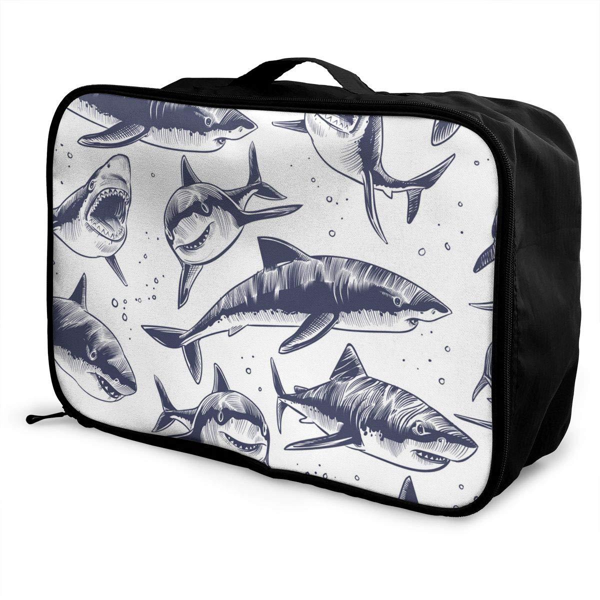 ADGAI Sharks Seamless Pattern Hand Drawn Underwater Sea Canvas Travel Weekender Bag,Fashion Custom Lightweight Large Capacity Portable Luggage Bag,Suitcase Trolley Bag