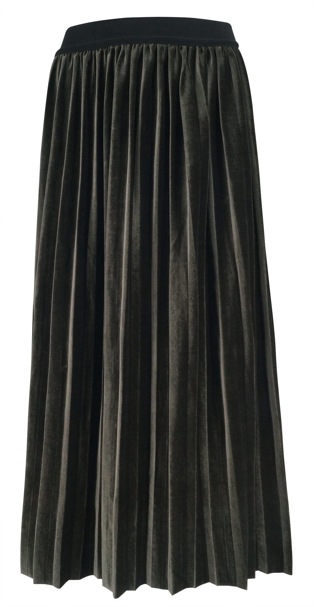 FEOYA Women Retro Skirt High Waist Velvet Pleat Midi Skirt With Elastic Band Olive Green XL