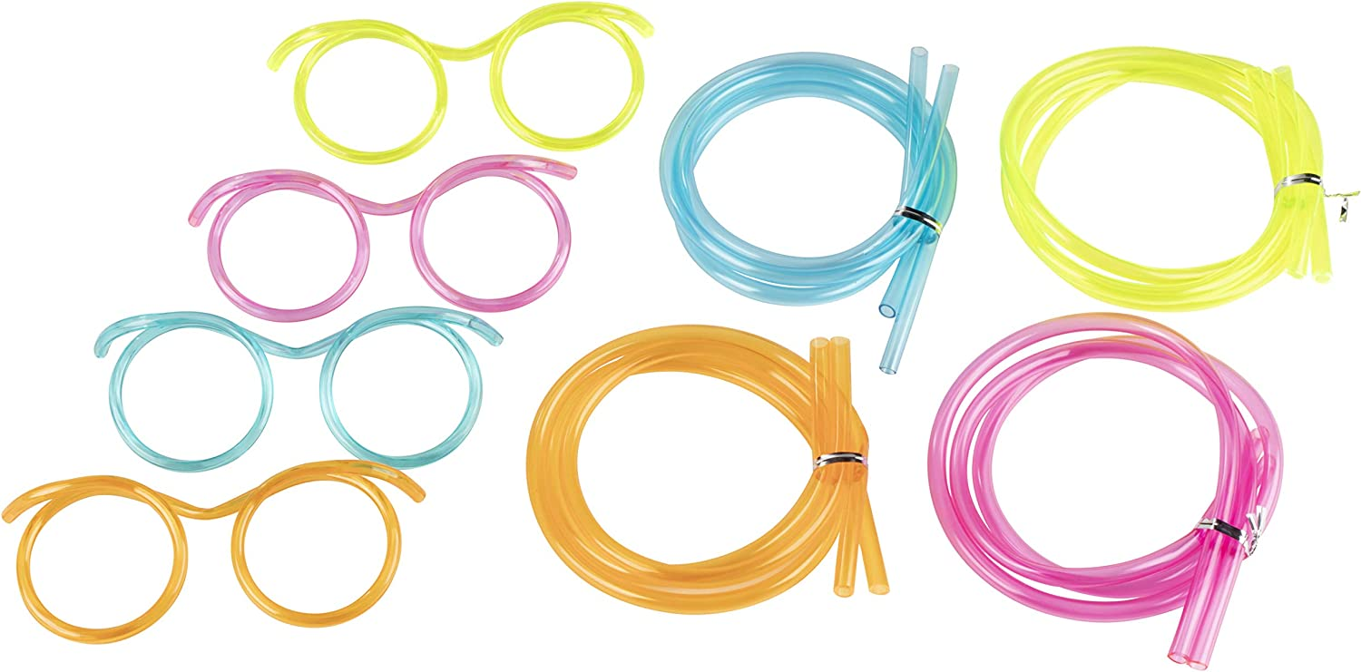 Silly Straw Glasses - 12-Pack Flexible Drinking Straw Novelty Eyeglass Frame, Bar Accessories, for Birthdays, Bridal Showers, Party Supplies, Favors, Game Ideas, 4 Assorted Colors