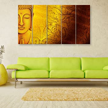 Inephos Vinyl Multiple Frames Beautiful Buddha Wall Painting For Living Room/Bedroom/Office/Hotels/Drawing  Room, 150x76cm (Yellow): Amazon.in: Home U0026 ...