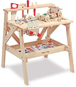 Melissa & Doug Wooden Project Solid Wood Workbench, (E-Commerce Packaging, Great Gift for Girls and Boys - Best for 3, 4, 5, and 6 Year Olds)