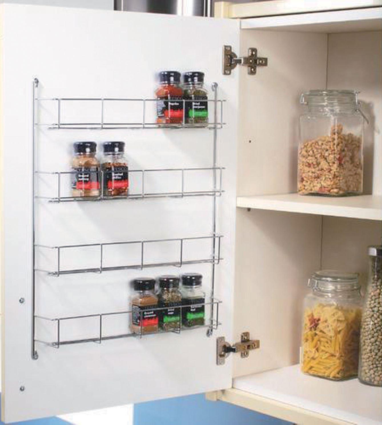 Gewürzregal für Schranktür, 4 Ebenen, verchromt: Amazon.de: Küche ...