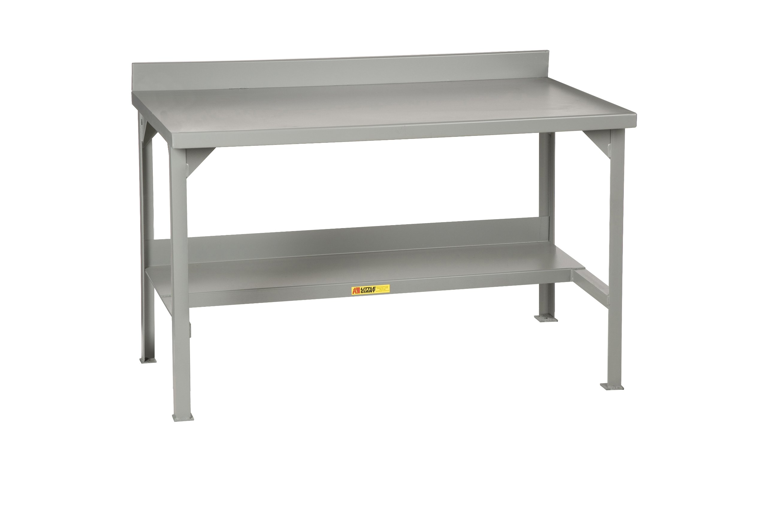 Little Giant WB-2860-E-P Welded Steel Workbench with Back Stop, 2 End Stops, Power Strip, 1 Half-Shelf, 3000 lb. Load Capacity, 36 x 60'' x 28'', Gray