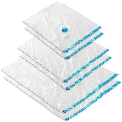 TecTake Bolsas para almacenar al vacío para ropa funda guarda edredon mantas - varias tamaños y cantidades - (6 piezas | 2xS | 2xM | 2xL | no. 402525)