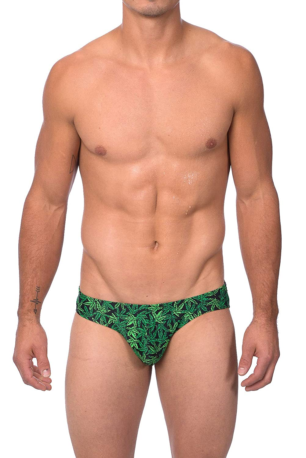 Gary Majdell Mens Rasta Marijuana Print Bikini/Boxer Brief/Thong Swimsuit
