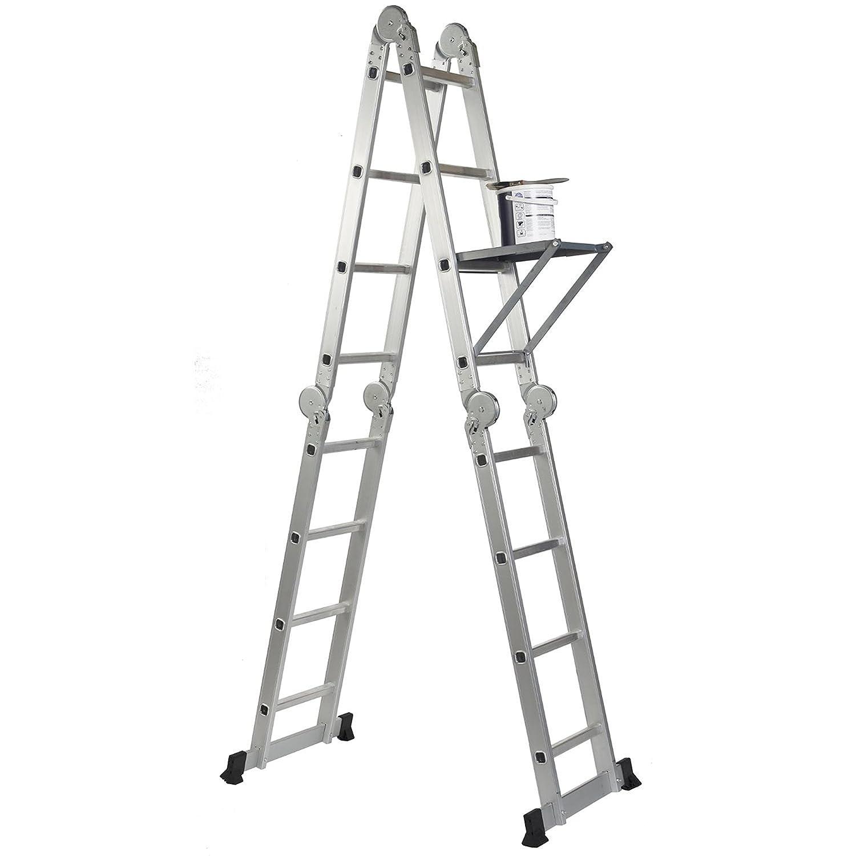 Fabricado de acuerdo a la norma EN131 parte 1 y parte 2 de Stella 4,7/m con 2/plataformas y 1/bandeja para herramientas Escalera plegable multiusos 14-en-1