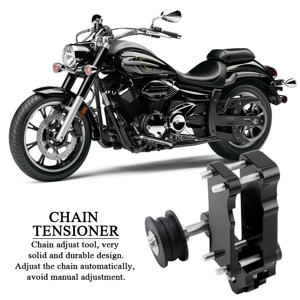 Motorcycle Adjuster Chain Tensioner Roller CNC Aluminium Alloy Universal Motorcycle Chain Tensioner Adjuster Chain Tensioner Roller Tool Black