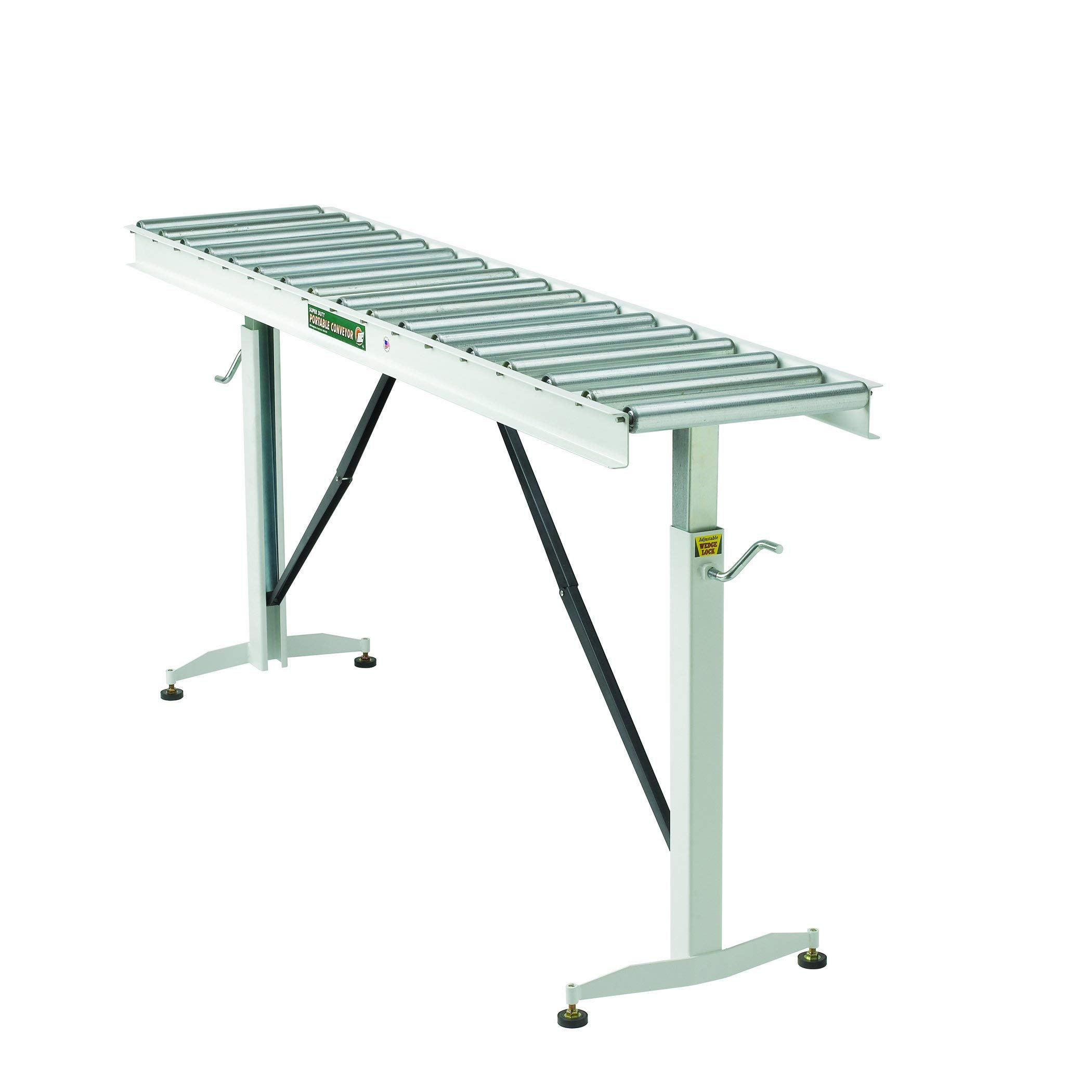 HTC HRT-70 Adjustable Folding Roller Conveyor Table 66-Inch length by 15-Inch wide 17-Ball Bearing Rollers (Renewed)
