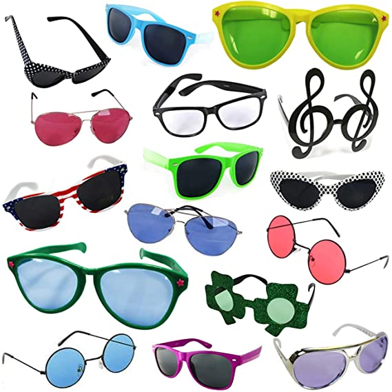 Funny Party Hats Costume Sunglasses - Party Sunglasses - 6 Pack Funny Shades