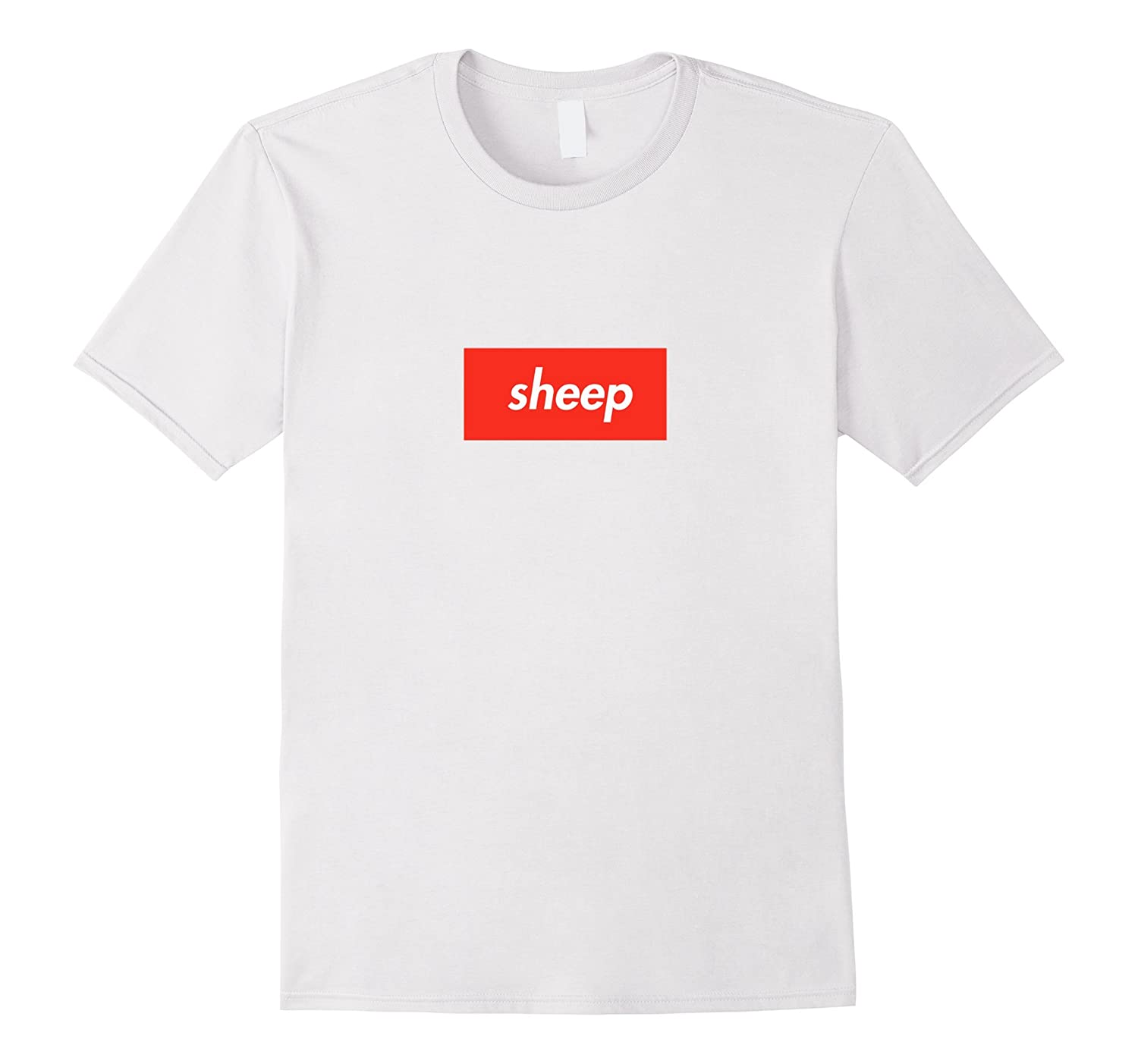 Sheep T-Shirt - Red Box White Letters-FL