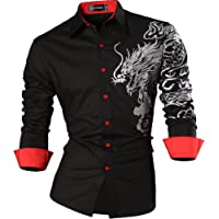 Sportrendy Men Casual Slim Dragon Tattoo Long Sleeve Button Down Dress Shirt JZS041