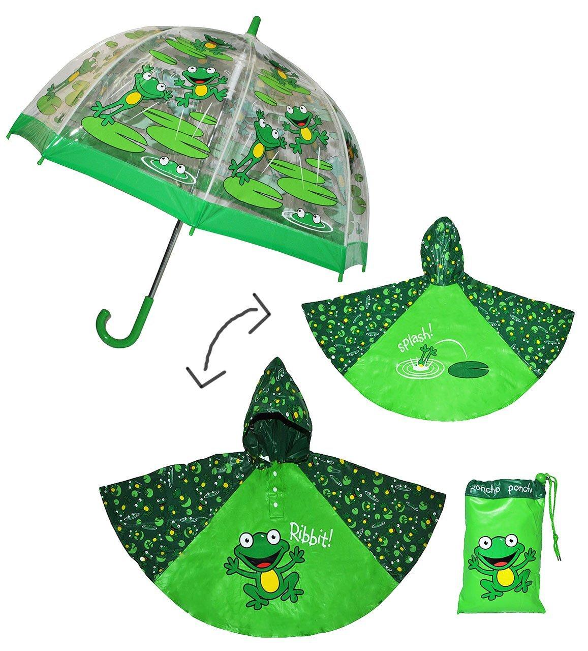 Unbekannt 3 TLG. Set: Regenschirm + Regenponcho / Regencape - Frosch - incl. Namen - Gr. 104 - 128 / 3 bis 6 Jahre - Kinderschirm transparent - Kinder Stockschirm Regen.. Kinder-land