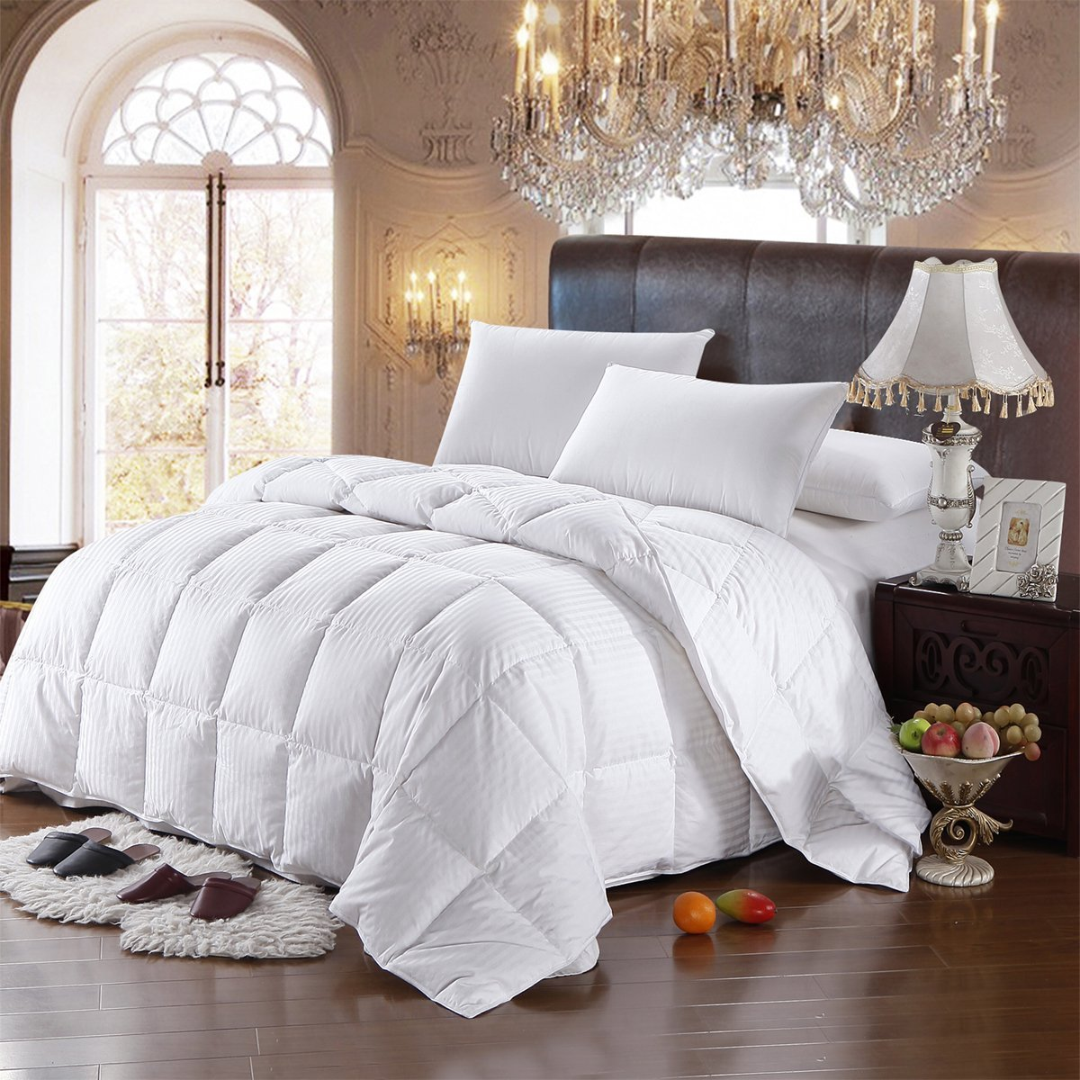 8 Pieces 100% Cotton Solid Ivory Queen Goose Down Bed in a Bag Set Including 300TC (Sheet Set + Duvet Cover Set) + All Season White Striped Goose Down Comforter 600 Fill Power