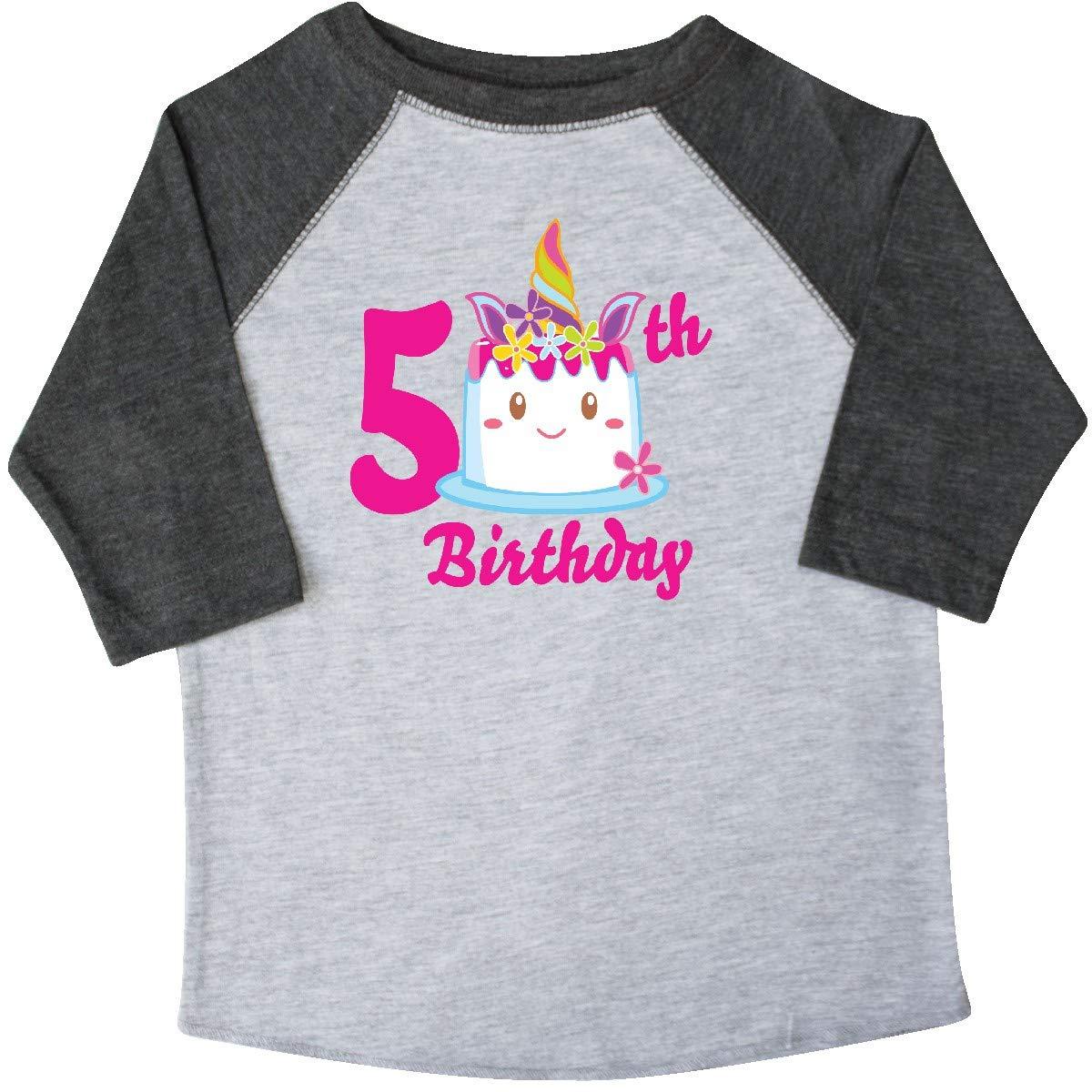 inktastic 5th Birthday with Unicorn Cake Toddler T-Shirt