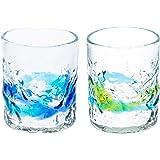 でこロックグラス(S)2個セット(青/水・水/緑)