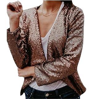 4829dabce Comfy Women's Long Sleeve Chic Stylish Sequin Jacket Blazer Outwear