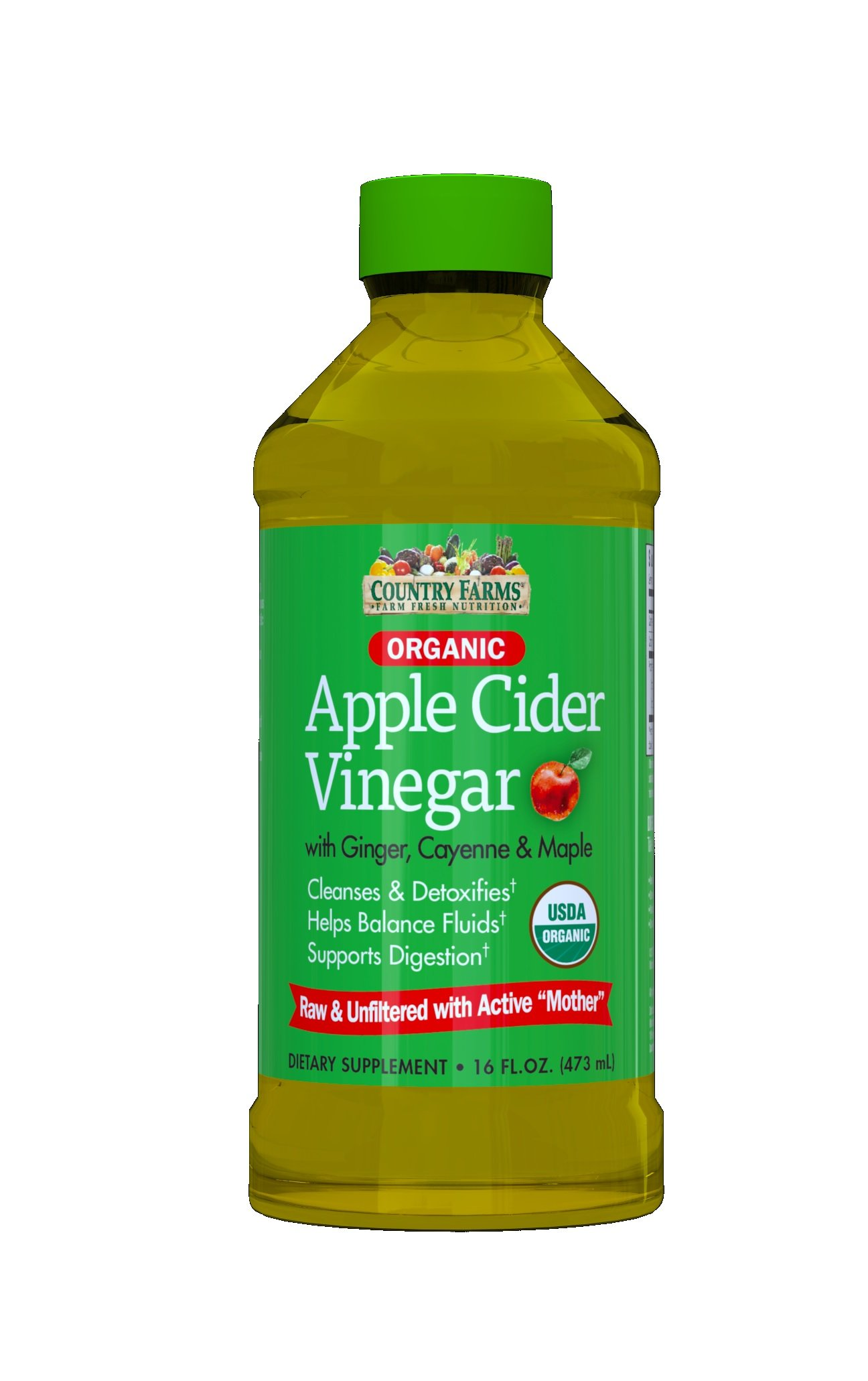 Country Farms Organic Apple Cider Vinegar, 16oz Each (Pack of 2) by Country Farms