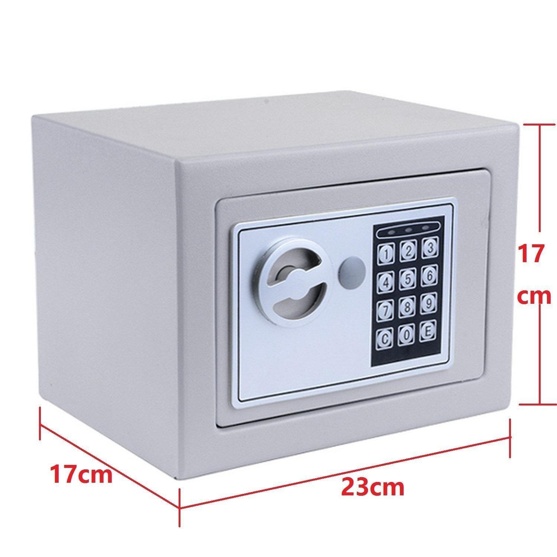 Lock Box, Box, Safe, Safes, Safe Box, Safes And Lock Boxes, Money Box, Safety Boxes for Home, Digital Safe Box, Steel Alloy Drop Safe, Includes Keys Sliver grey