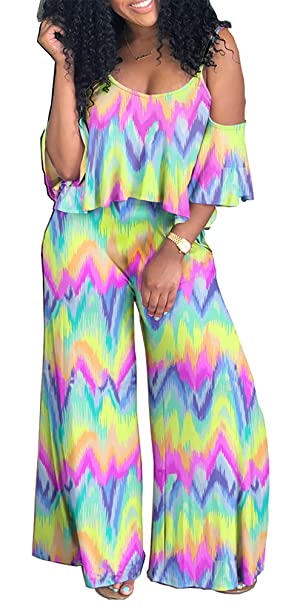 e83751bb5597bf Image Unavailable. Image not available for. Color: DingAng Women's  Two-Piece Romper Sexy Tie Dye Print Cold Shoulder Top ...