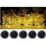 Fanme Solar Mason Jar Lights Lids 5 Pack 10 LED Fairy String Light Screw Inserts for Mason Jar Charismas Wedding Garden Patio Path Home Décor Tree Jar Lantern Decorative Lighting Warm White