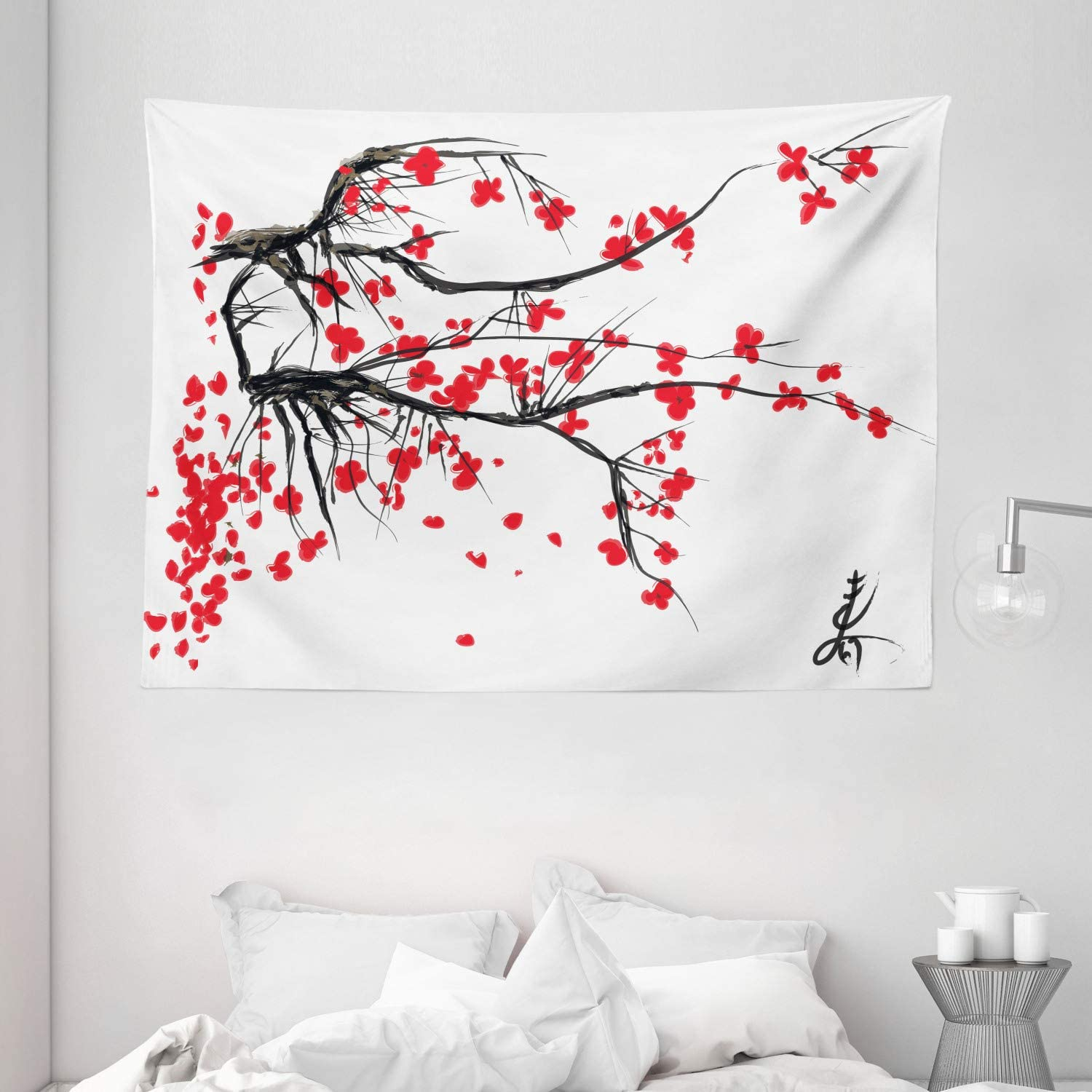 """Ambesonne Nature Tapestry, Sakura Blossom Japanese Cherry Tree Garden Summertime Vintage Cultural Print, Wide Wall Hanging for Bedroom Living Room Dorm, 80"""" X 60"""", Grey Vermilion"""