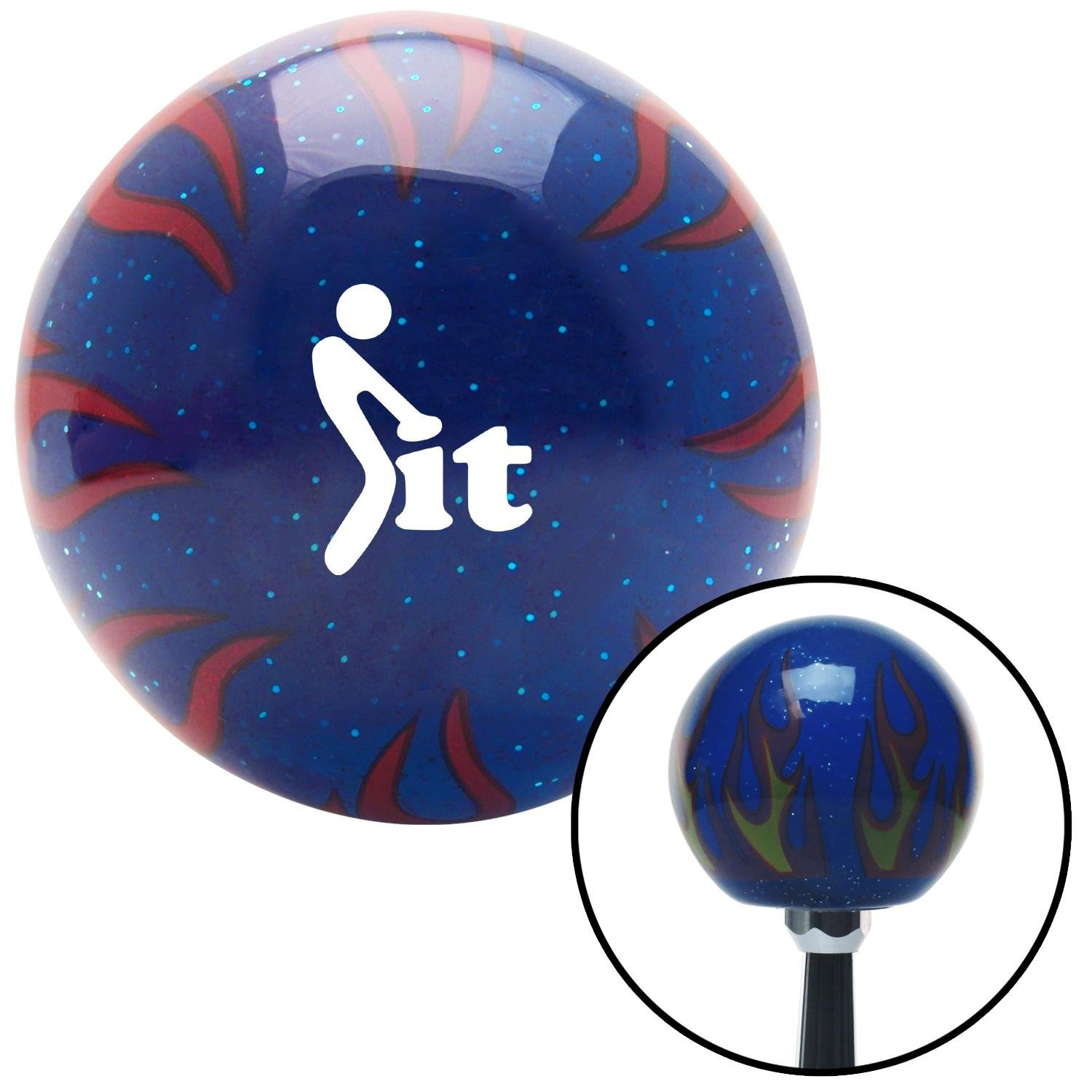 American Shifter 298166 Shift Knob White FCK It Icon Blue Flame Metal Flake with M16 x 1.5 Insert