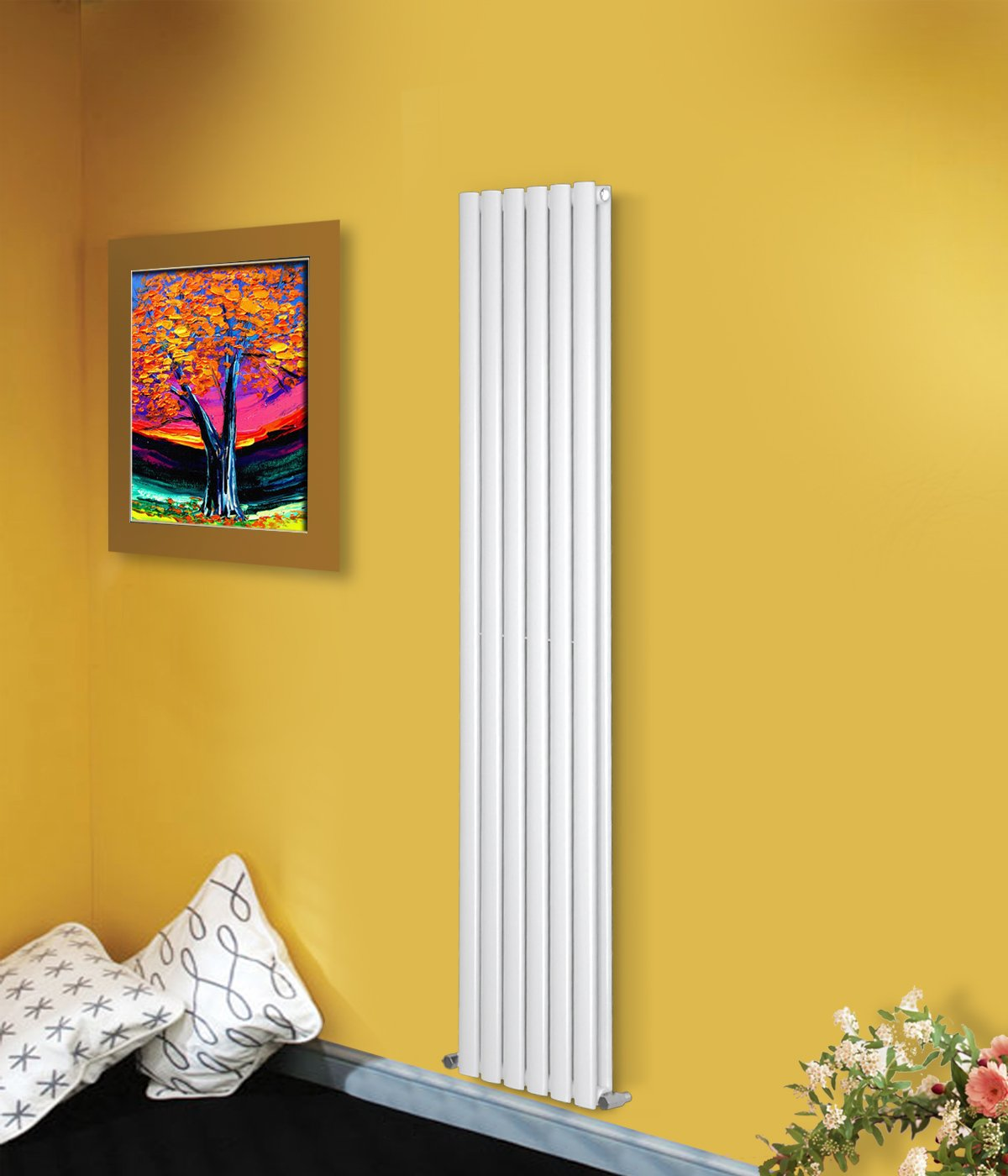 NRG Modern 1800x354mm Vertical Radiator White Double Oval Column Panel Designer Bathroom Central Heating 15 Year Guarantee Manufactured for NRG-Radiator