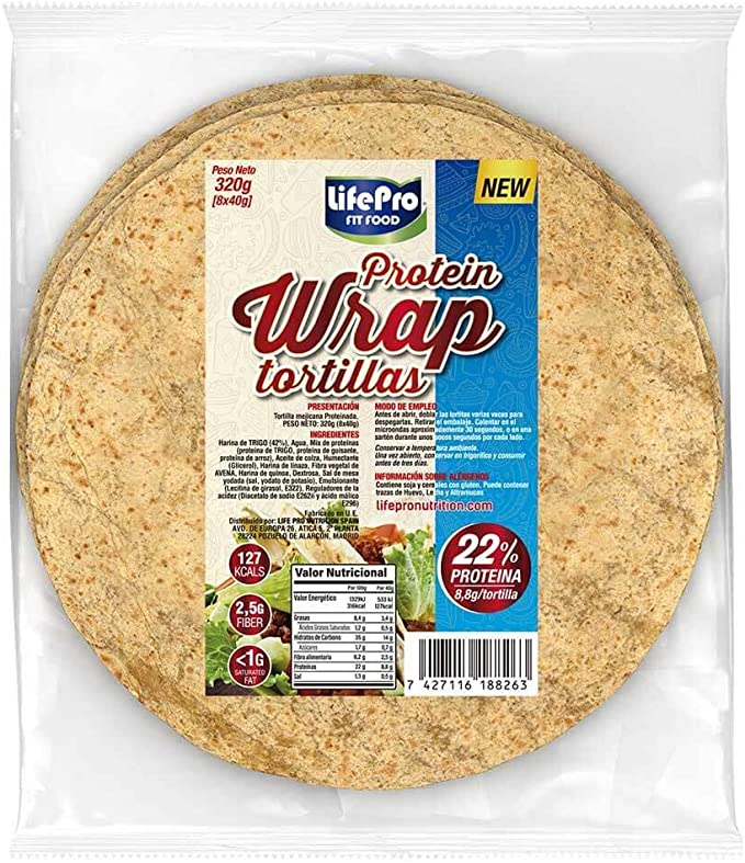 Life Pro Fit Food Protein Wrap Tortillas Proteicas 8x40g   8,8g de proteína por cada tortilla   Tortilla mejicana con un alto contenido de proteínas   ...