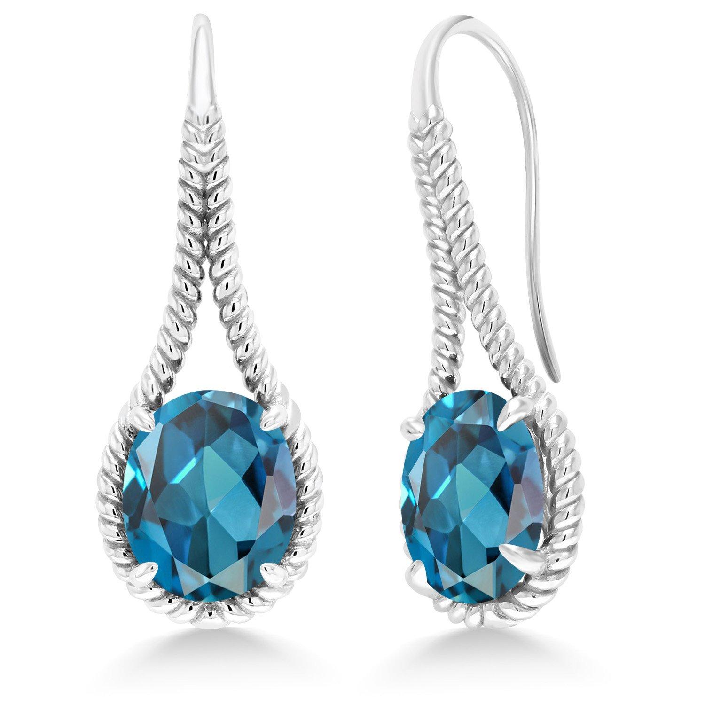Gem Stone King 10.40 Ct Oval London bluee Topaz 925 Sterling Silver Earrings