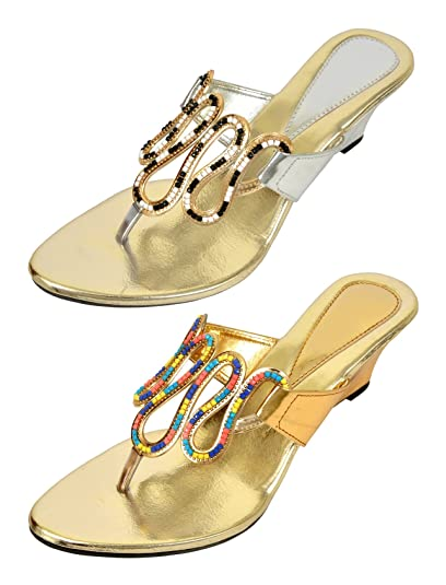 1c673d2ad90cca Altek Stylish Golden and White Fashion Sandals Pack of - 2 Pairs (Size - 9