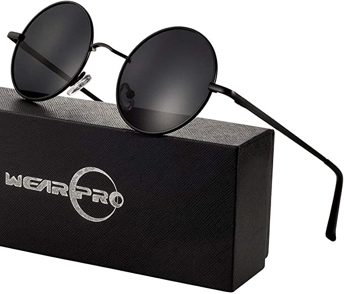PT Sonnenbrille Hippie Retro Runde Mann Frau UV 400 Blau