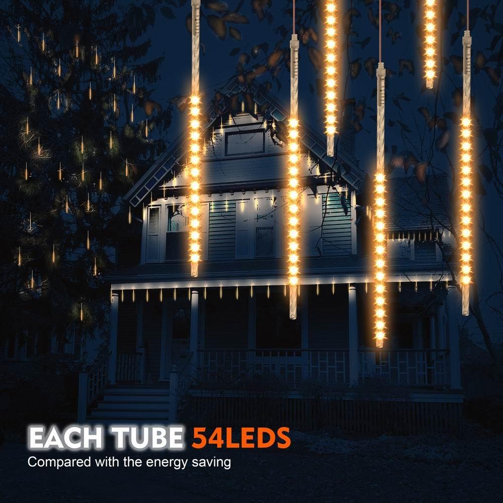 TurnRaise 50cm 10 Tubo 540 LED Meteor Luci Natale Luci, Impermeabili Meteor Shower Light per Festa di Nozze Decorazione All'aperto (Blu) Impermeabili Meteor Shower Light per Festa di Nozze Decorazione All' aperto (Blu)