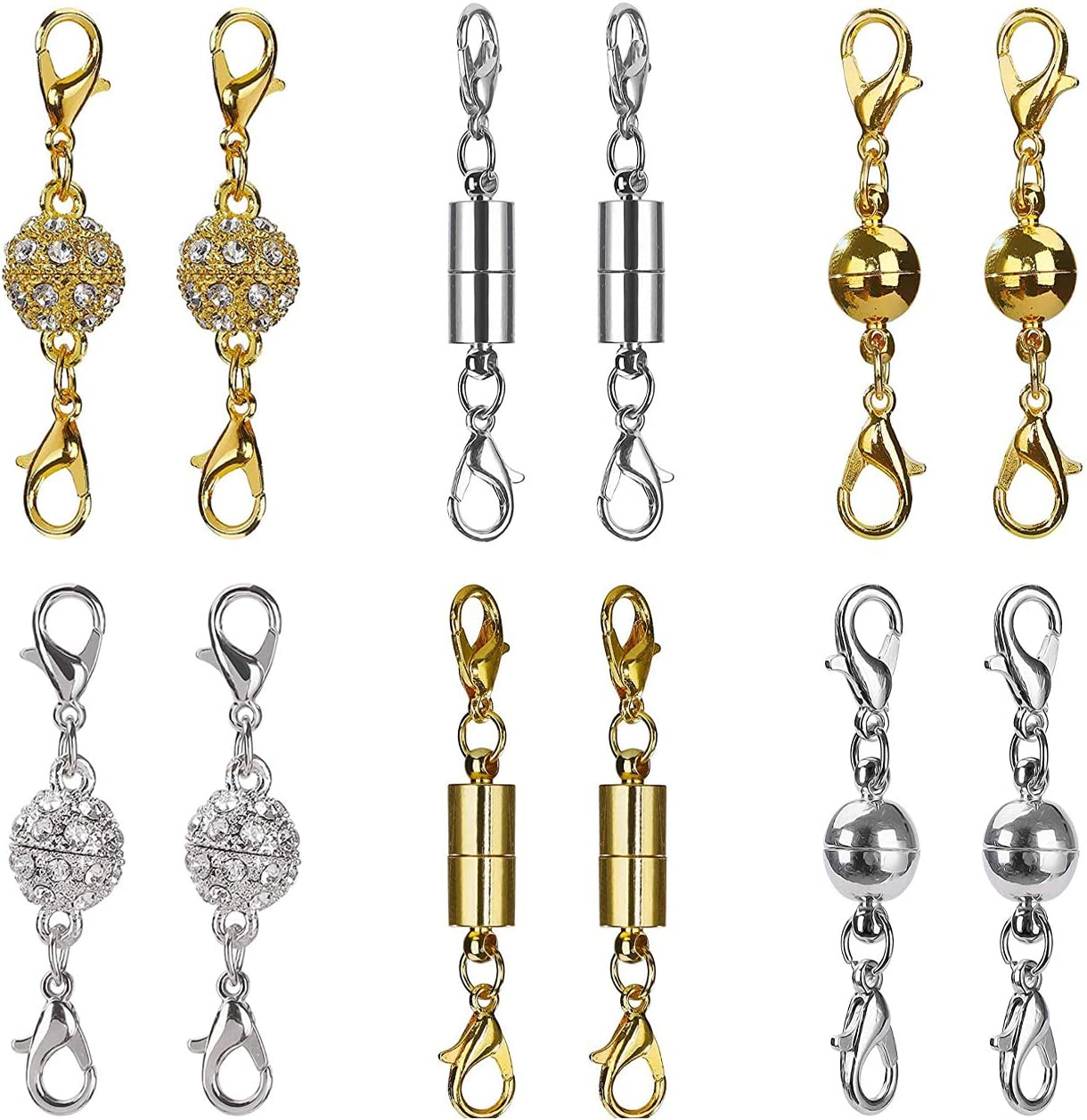YUEMING 12 Piezas Joyería Cierre Magnético, Broche de Collar de Joyería Magnética Cilíndrico y Tono de Bola Broche de Langosta Magnético de Diamantes de Imitación para DIY Bisutería Collar Pulsera