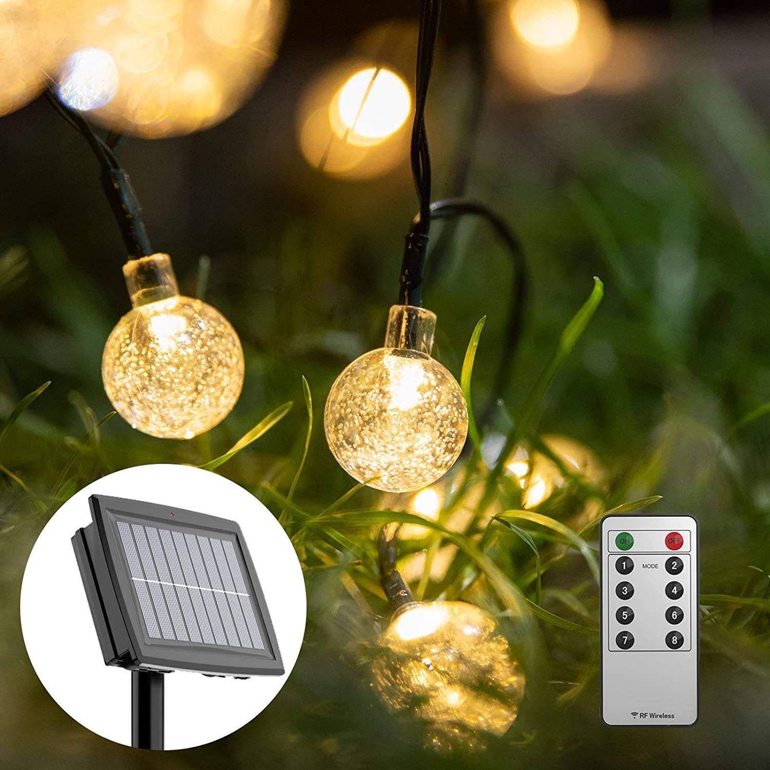 Solar String Lights Outdoor,40ft 88 LEDs Outdoor Globe Bulb Christmas Lights with Remote Powered by Solar and Batteries Waterproof 8 Modes Fairy Lights for Patio, Garden, Gazebo, Yard (Warm White)