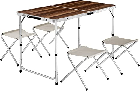 TecTake Mesa Maleta 4 taburetes Camping Plegable portátil jardín Picnic Aluminio | plegada (Largo x Ancho x Alto) 62x62x6,5 cm