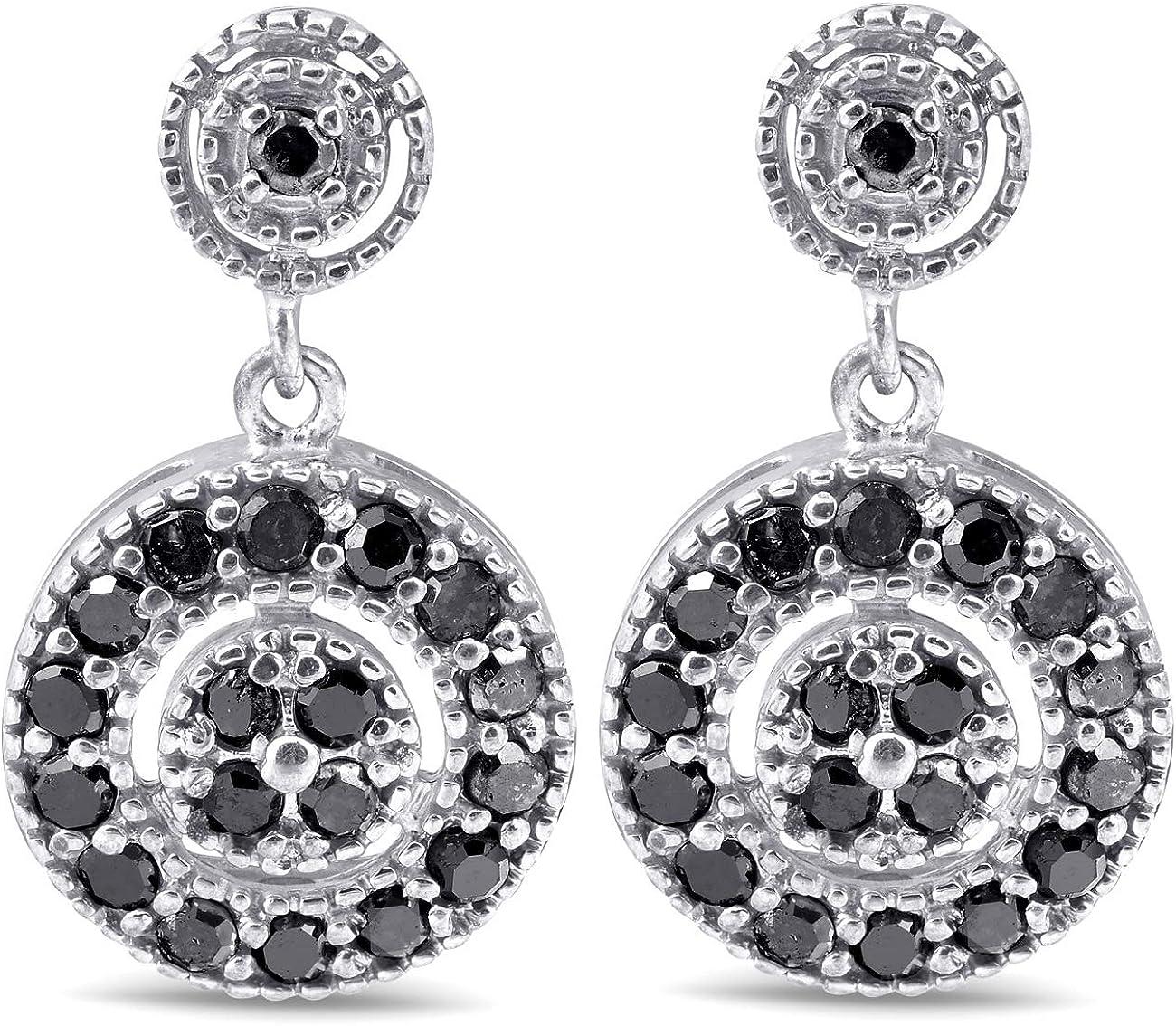 Amazon Com 1 2ct Black Diamond Pave Womens Earrings 10k White Gold Jewelry