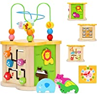Baby Activity Cube Toys 6-in-1 Busy Box Centre Wooden Bead Maze Shape Sorter with Animal Block Puzzle Clock Learning…