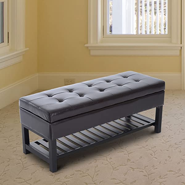 "HOMCOM 44"" Tufted Faux Leather Ottoman Storage Bench with Shoe Rack - Dark Brown"