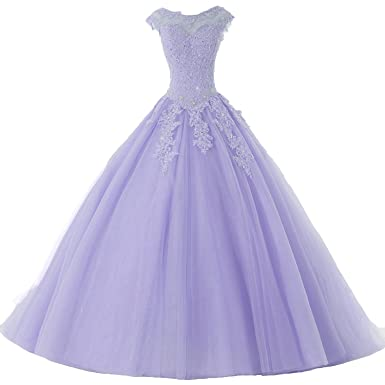 127f198518e PEBridal Womens Beaded Quinceanera Dress Sweet 16 Ball Gown Cap Sleeve Prom  Gowns US2 Lavender