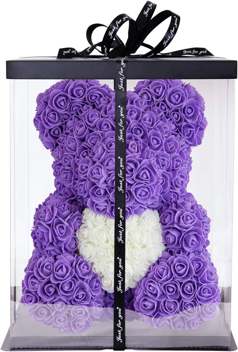 Fidanzamento Matrimonio Festa della Donna Compleanno I Artigianale Battesimo MALOVI Orsetto di Rose 38cm I Realizzato a Mano I Idea Regalo I per San Valentino Anniversari Laurea Natale