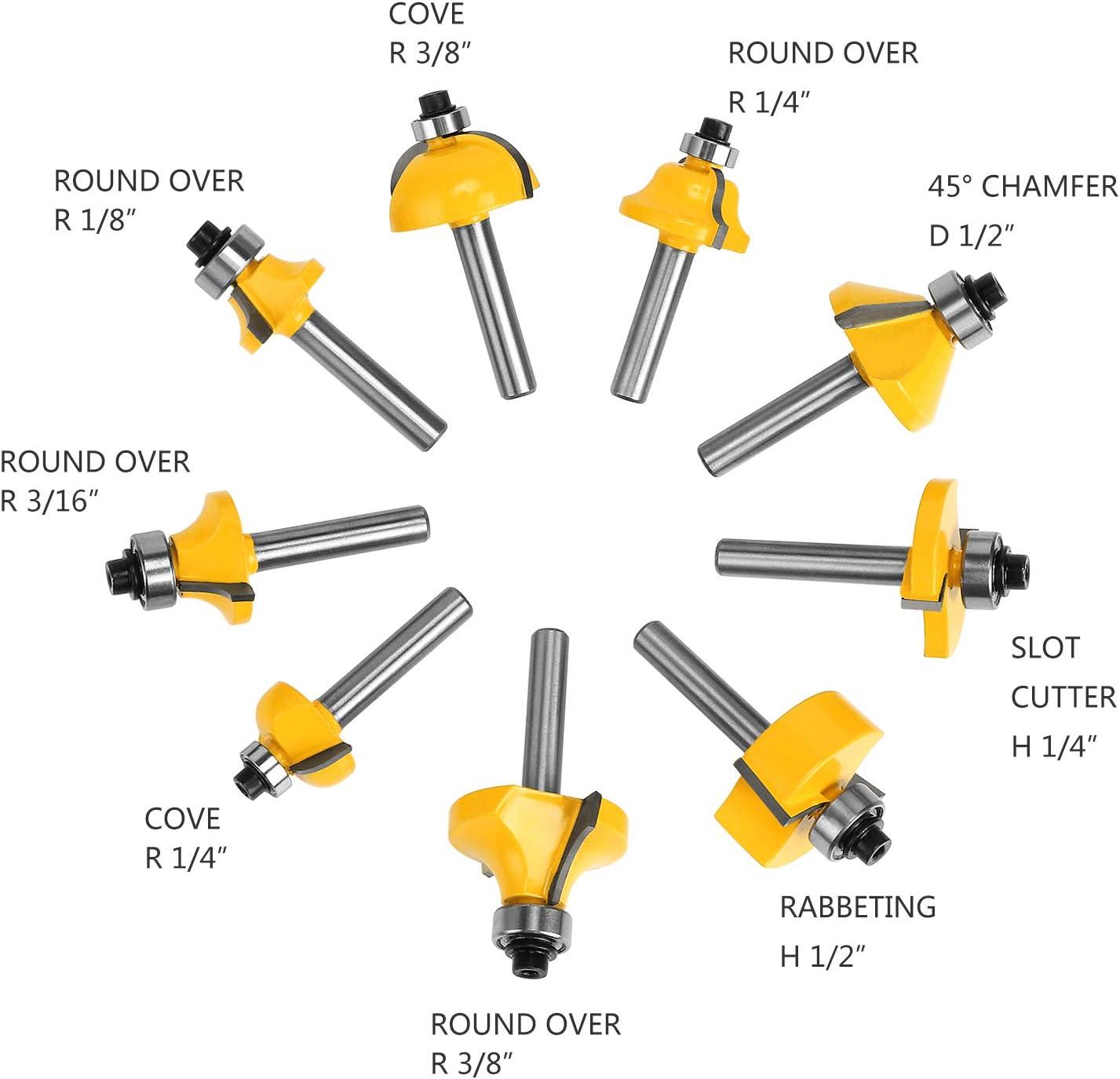 1//4  Conjunto de Brocas Carburo Router Bits Carpinter/ía Herramienta de Cortadores Madera WiMas 24Pcs Fresas Set