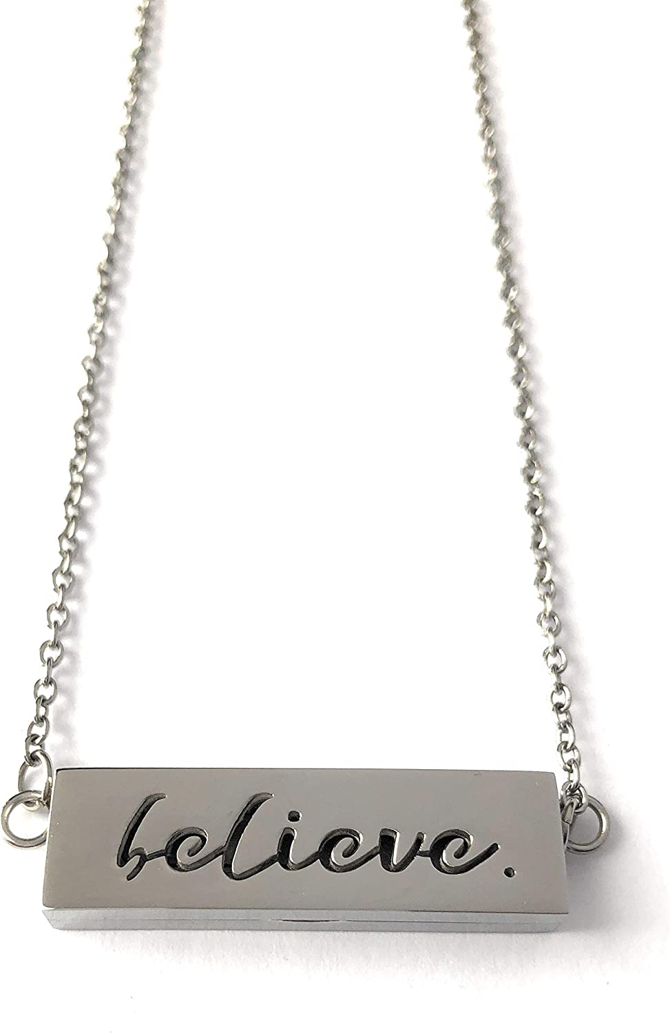 """Minimalist Diffuser Necklace:""""Believe"""" Aromatherapy bar Necklace for Essential Oils with Modern Pendant Style Locket (Reversible and Adjustable)"""