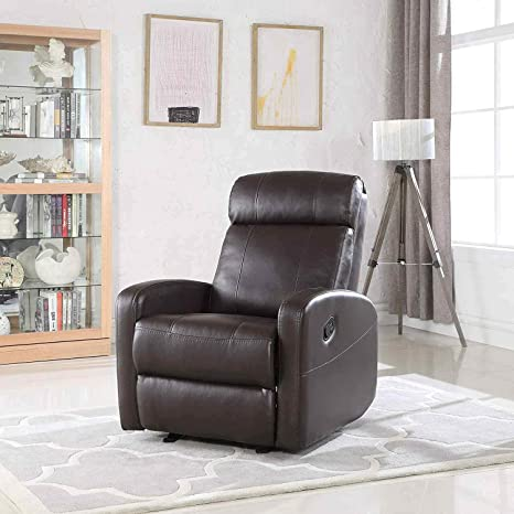 Astonishing Brown Rocking Faux Leather Recliner Lounge Chair Modern Overstuffed Ergonomic Lounger Chair Comfortable Padded Seats For Living Office Or Home Onthecornerstone Fun Painted Chair Ideas Images Onthecornerstoneorg