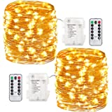 GDEALER 2 Pack 100 Led String Lights Fariy Lights Battery Operated Waterproof Fairy String Lights with Remote Control Timer 8 Modes 33ft Copper Wire Christmas Lights Christmas Decor Warm White