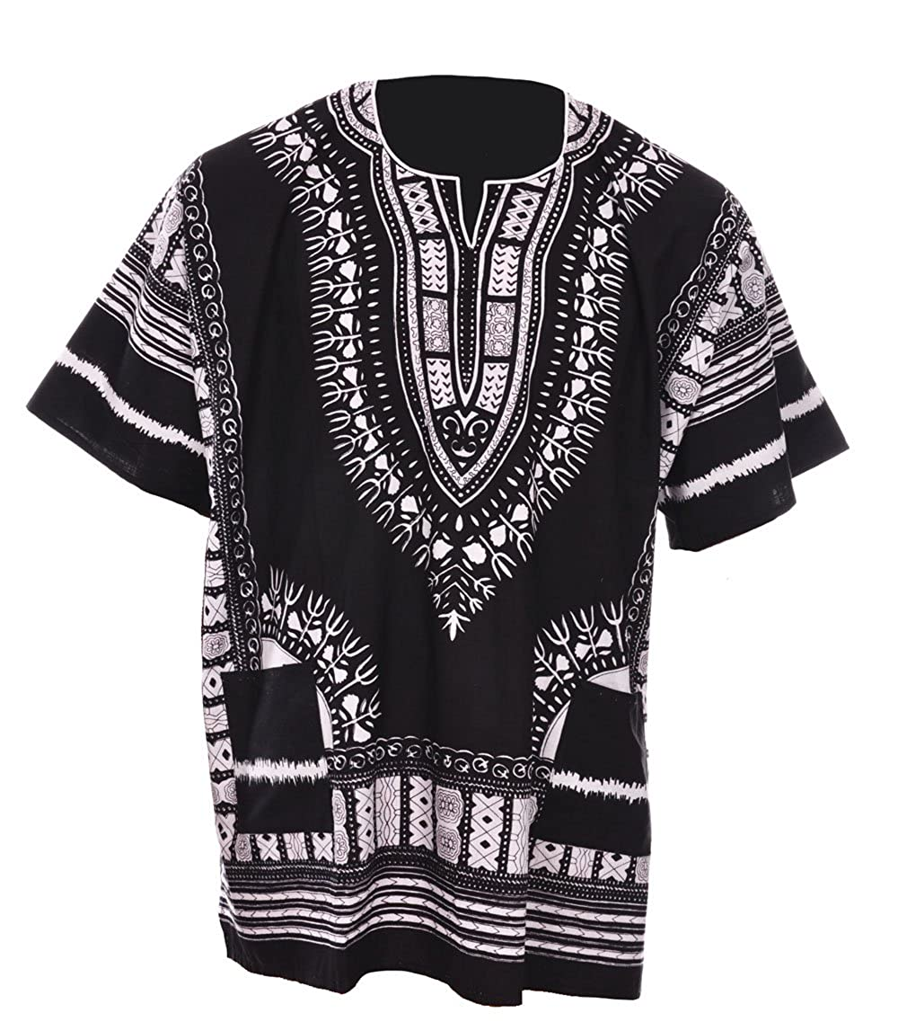 Dupsie's Black Traditional African Print Unisex Dashiki Shirt Small to 7XL Plus Size