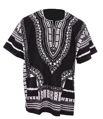 6887bf057abc5 Amazon.com  Dupsie s Black Traditional African Print Unisex Dashiki ...