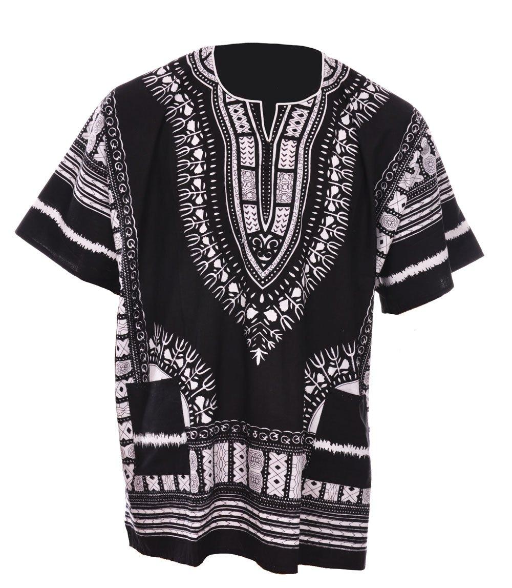 Dupsie's Black Traditional African Print Unisex Dashiki Shirt (XXXX-Large)